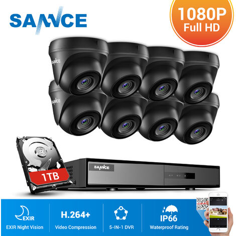 SANNCE 8CH 1080p Security Camera System 5 in 1 CCTV DVR Recorder Waterproof Wired Video Surveillance Kits 8 Cameras