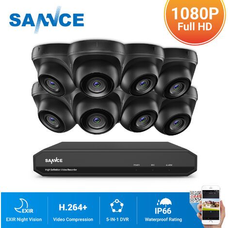 SANNCE 8CH 1080p Security Camera System 5 in 1 CCTV DVR Recorder Waterproof Wired Videosurveillance Kits For Home Outdoor Indoor 4 Cameras