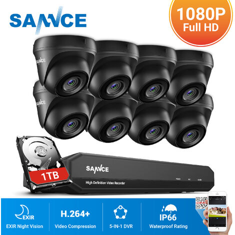 SANNCE 8CH 1080p Security Camera System 5-in-1 CCTV DVR Recorder with 8 pcs Waterproof Wired Surveillance Cameras