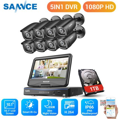 SANNCE 8CH 1080P Video Monitoring System with 10.1'' LCD Combo DVR with 8 cameras