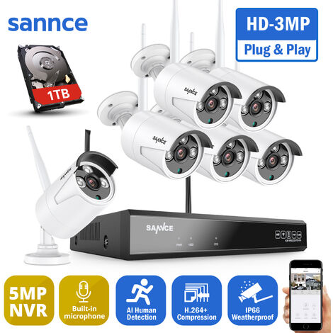 SANNCE 8CH 3MP Wireless Video Security System 5MP HDMI NVR with 8PCS 3MP Wifi Weatherproof IP Camera Surveillance Kit Outdoor 100ft 30m Night Vision