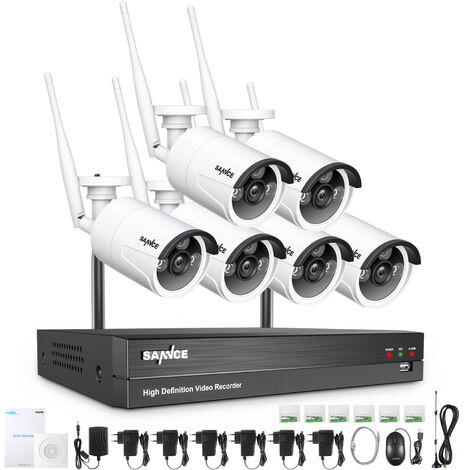 SANNCE 8CH 4-in-1 Videoüberwachungsset 10,1 Zoll 1080N DVR mit 4 x 720P wetterfeste Überwachungskameras, Nachtsicht bis zu 20 Meter für innen und außen - mit 1TB Festplatte,4 Kameras(BW)
