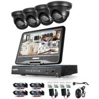 Sannce 8CH 720P CCTV DVR Recorder with 4 PCS Day Night Weatherproof Security Cameras System Hybrid Video Recorder