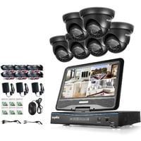 Sannce 8CH 720P CCTV DVR Recorder with 6 PCS Day Night Weatherproof Security Cameras System Hybrid Video Recorder