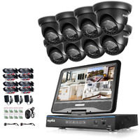 Sannce 8CH 720P CCTV DVR Recorder with 8 PCS Day Night Weatherproof Security Cameras System Hybrid Video Recorder