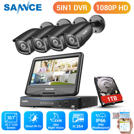 SANNCE 8CH 720P HD Security DVR Recorder, 4Pcs 720P Weatherproof CCTV Cameras System With 10.1 inch LCD Screen Monitor