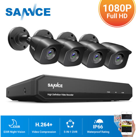 SANNCE 8CH 1080N 1080P HD Security System With 4 Weatherproof Night Vision Bullet Cameras - 0TB Hard Drive Disk