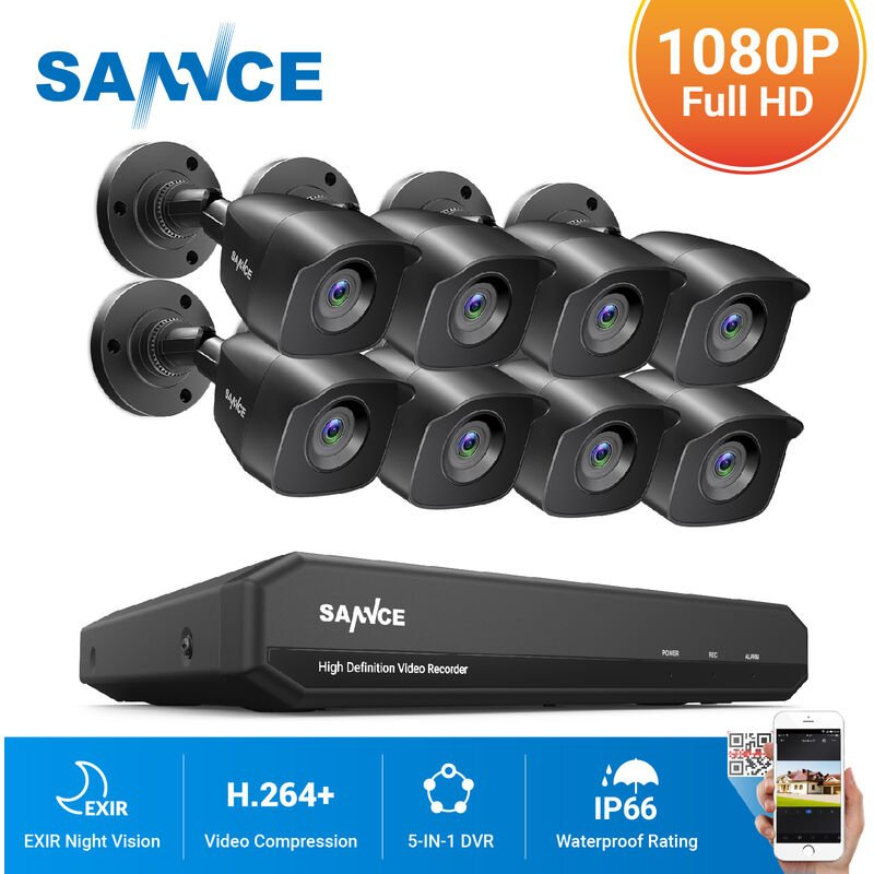 SANNCE 4CH 1080P HDMI NVR CCTV Camera Security System IP66 IR Cut Night Vison 1T