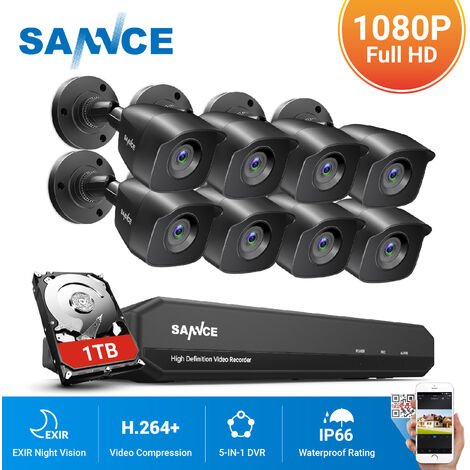 SANNCE 8CH CCTV DVR 8Pcs 720P Home Outdoor Weatherproof Night Vision Bullet Camera Security