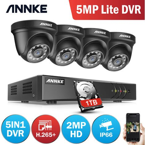 ANNKE 4Channel HD-TVI 1080P Lite Video Security System DVR and 4 Indoor/Outdoor Weatherproof Cameras with IR Night Vision LEDs - 1TB HDD