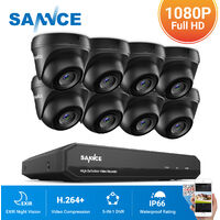 SANNCE 8CH Videoüberwachungsset 4-in-1 1080N HD DVR mit 8 x 720P wetterfeste Überwachungskameras, Nachtsicht bis zu 20 Meter für innen und außen