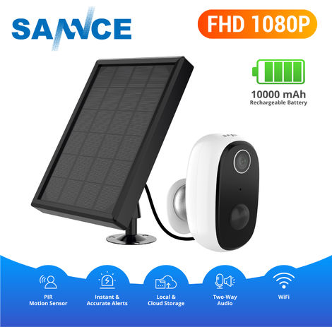 SANNCE Cámara inalámbrica con batería, vigilancia doméstica recargable de 1080p, sistema de seguridad WiFi IP65 a prueba de agua con detección de movimiento PIR