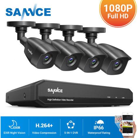 SANNCE KIT Cámara de vigilancia 8CH TVI DVR grabadora + 4 camára HD 1080P Exterior visión nocturna de 20m