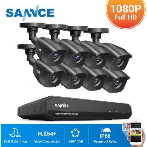 SANNCE KIT cámara de vigilancia 8CH TVI DVR grabadora + 8 cámara HD 1080P Exterior visión nocturna de 20m