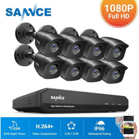 SANNCE Kit Caméra de surveillance filaire 16 CH 5 en 1 DVR enregistreur + Caméra extérieur HD 1080P Vision nocture 20m