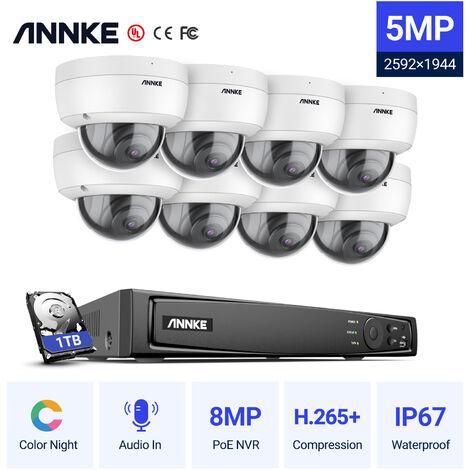 SANNCE KIT Caméra de surveillance filaire 8CH TVI DVR enregistreur + 4 caméra HD 1080P Extérieur vision nocture 20m