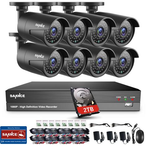 Sistema de videovigilancia con 4 c/ámaras de vigilancia 1080P,sin Disco Duro,para Interior y Exterior, 20 m, visi/ón Nocturna por Infrarrojos, Alarma de Movimiento Tonton CCTV 8CH 1080N HD TVI DVR