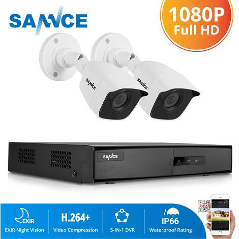 SANNCE KIT sistema de CCTV 4CH TVI DVR + 4 cámara de vigilancia HD 1080P exterior visión nocturna de 20m