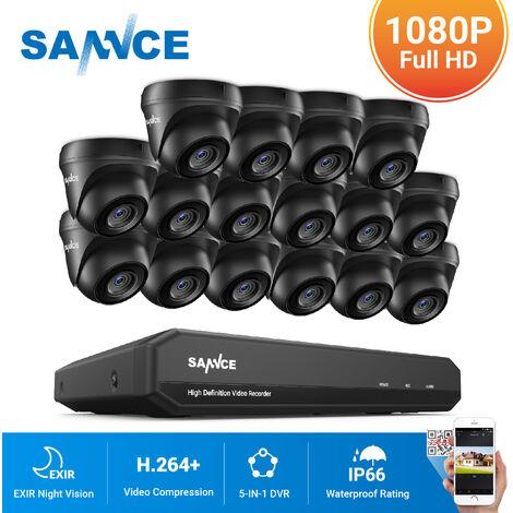 SANNCE Kit Vidéo surveillance 16 CH 5 en 1 1080N DVR + HD 1080P Caméra dôme vision nocture 20m
