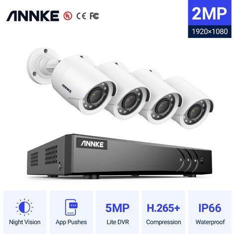 SANNCE KIT Vidéo surveillance filaire 8CH TVI DVR enregistreur + 4 caméra 720P Extérieur vision nocture 20m