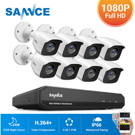 SANNCE KIT Vidéo surveillance filaire 8CH TVI DVR enregistreur + 8 caméra HD 720P Extérieur vision nocture 20m