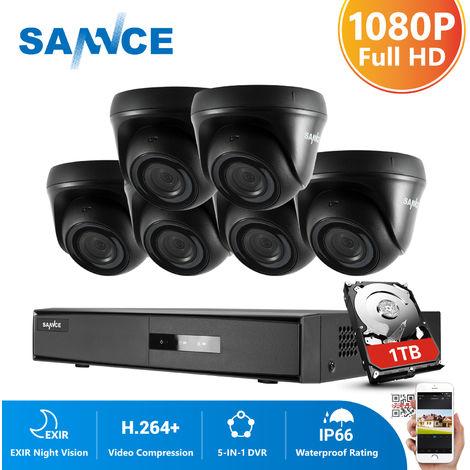 SANNCE Kit Video vigilancia cctv sistema de seguridad 8CH TVI 5 en 1 grabadora + 6 cámara de vigilancia exterior HD 1080p visión nocturna de 20m