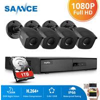 SANNCE Kit Video vigilancia cctv sistema de seguridad 8CH TVI 5 en 1 grabadora + 6 cámara de vigilancia exterior HD 720p visión nocturna de 20m