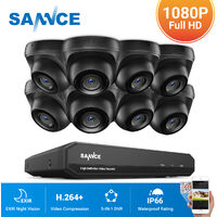 SANNCE Kit Video vigilancia cctv sistema de seguridad 8CH TVI 5 en 1 grabadora + cámara de vigilancia exterior a prueba de intemperie HD 720p visión nocturna