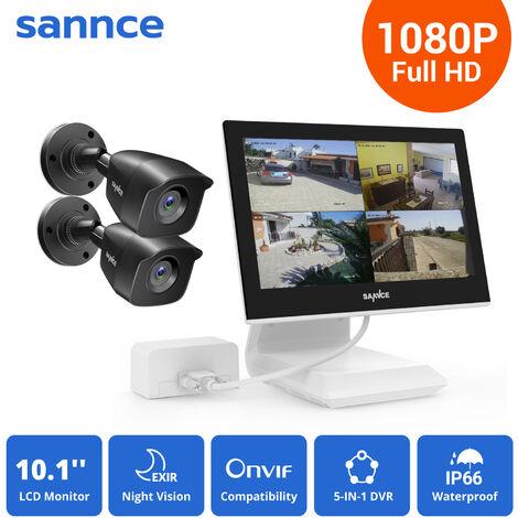 SANNCE KIT Video Vigilancia con pantalla 10.1 pulgadas LCD 4CH DVR + 2 cámara bala HD 1080P interior / exterior visión nocturna 20m