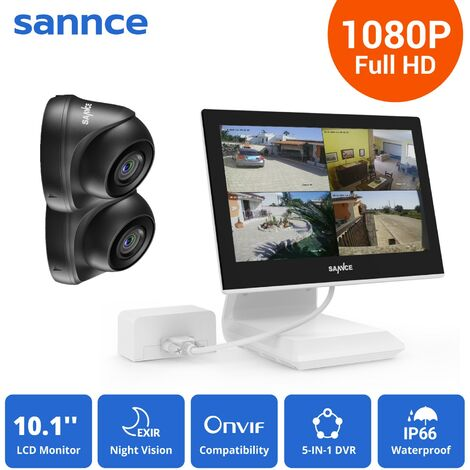 SANNCE KIT Video Vigilancia con pantalla 10.1 pulgadas LCD 4CH DVR + 2 cámara domo HD 720P interior / exterior visión nocturna 20m