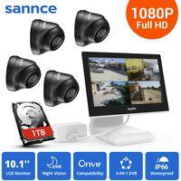 SANNCE KIT Video Vigilancia con pantalla 10.1 pulgadas LCD 4CH DVR + 4 cámara domo HD 720P interior / exterior visión nocturna 20m