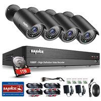 SANNCE Kit Video vigilancia sistema de CCTV 8CH 5 en 1 DVR garbadora + 4 cámara HD 1080P exterior IP66 visión nocturna de 30m
