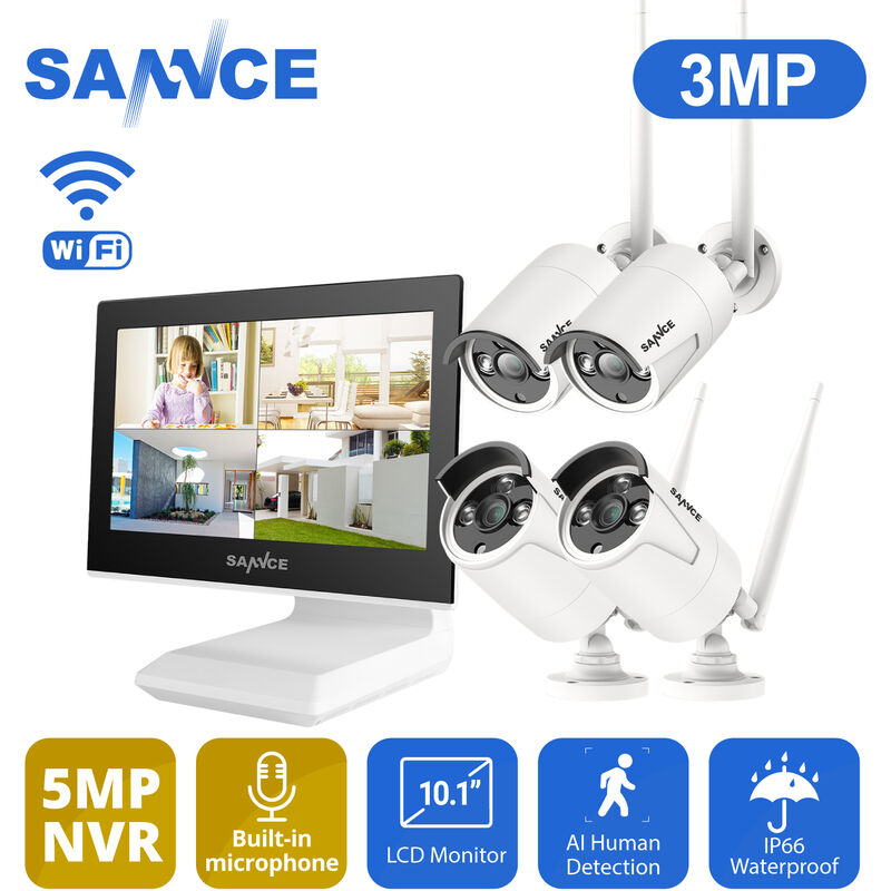 sannce kit vid osurveillance sans fil avec cran 10 1. Black Bedroom Furniture Sets. Home Design Ideas