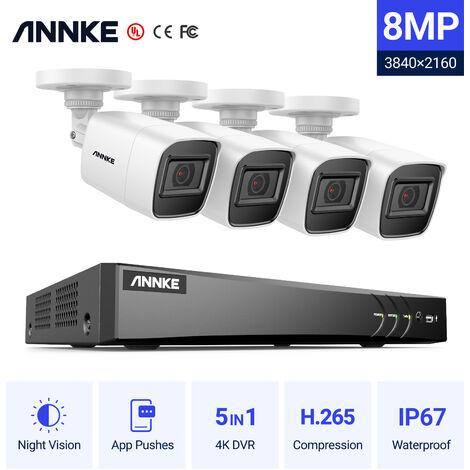 SANNCE kit videovigilancia exterior 4CH TVI DVR grabadora + 2 cámara HD 720P visión nocturna de 20m