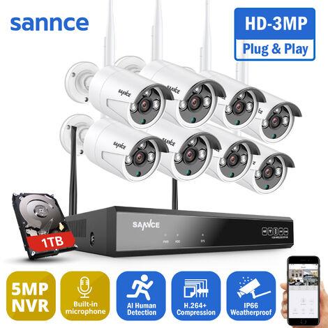 SANNCE Sistema de cámara de seguridad inalámbrica WiFi 1080P con 8 cámaras WIFI KIT NVR - Incluye disco duro de 1TB