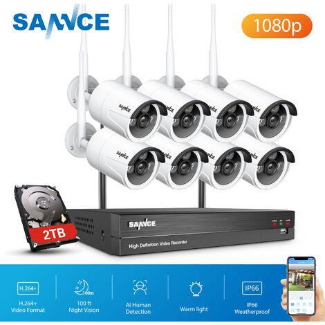 SANNCE Sistema de cámara de seguridad IP WiFi de 8 canales con 8 piezas 1080p Cámaras de vigilancia CCTV inalámbricas para exteriores AI Detección humana con disco duro de 2TB