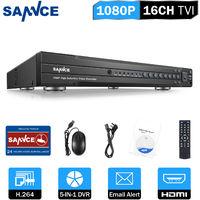 SANNCE Sistema de cámaras de seguridad CCTV de 16 canales con DVR 5 en 1