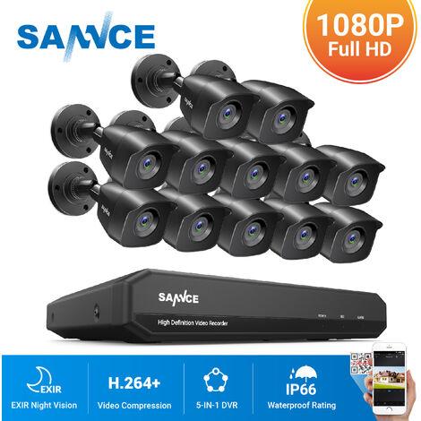 SANNCE Sistema de seguridad de video en el hogar 1080P 5-en-1 DVR 1080N con cámaras negras de 12 * Bullet