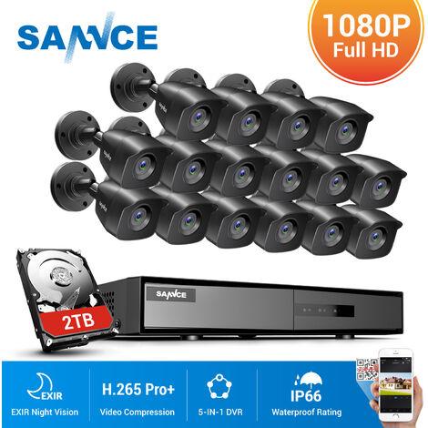 SANNCE Sistema de seguridad de video en el hogar 1080P 5-en-1 DVR 1080N con cámaras negras de 16 * Bullet