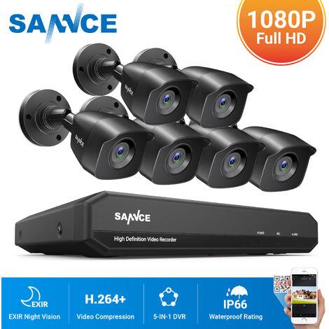 SANNCE Sistema de seguridad de video en el hogar 1080P con 1080N DVR con 6 cámaras estilo B