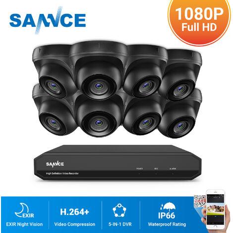 SANNCE Sistema de seguridad de video en el hogar 1080P con 1080N DVR con 8 cámaras estilo A