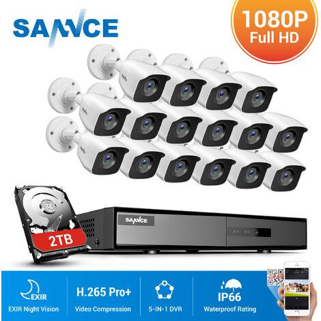SANNCE Sistema de seguridad de video en el hogar 720P 5-en-1 DVR 1080N con cámaras blancas de 16 * Bullet