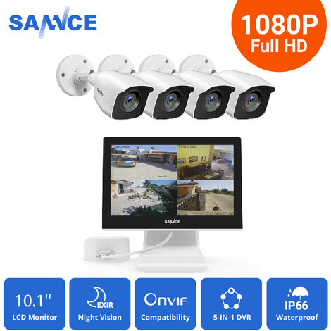 SANNCE Sistema de seguridad de video en el hogar  720P con 1080N DVR con 8 cámaras estilo C