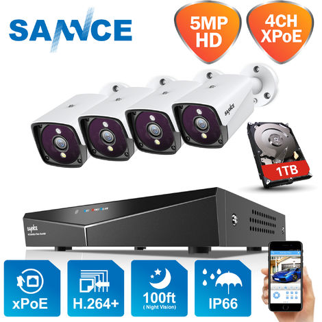 SANNCE Sistema de seguridad de video en red XPoE 5MP de 4 canales (kit NVR)