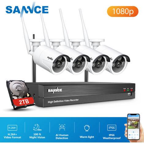 SANNCE Système de caméra de sécurité 4/8 / 16CH 720P avec DVR 5 en 1