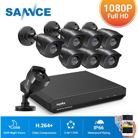 SANNCE Système de caméra de sécurité CCTV 1080N avec 5-en-1 1080N H.264 DVR et caméras de sécurité 8 * 1080P HD