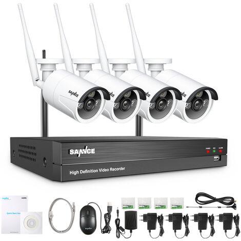 SANNCE Système de caméra de sécurité IP WiFi 8 canaux avec 4 caméras de surveillance CCTV extérieures sans fil 1080p sans disque dur