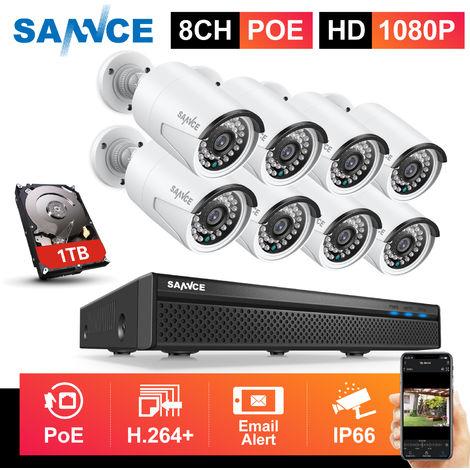 SANNCE Système de sécurité vidéo en réseau PoE 1080P FHD, surveillance NVR 8CH 5MP avec compression vidéo H.264 + caméras résistantes aux intempéries 1080P HD 8 caméras