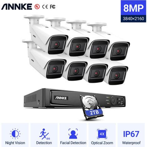 SANNCE Système de sécurité vidéo en réseau PoE FHD 5MP, NVR de surveillance 8CH 5MP avec compression vidéo H.264 +, caméras 6 * 5MP HD résistantes aux intempéries