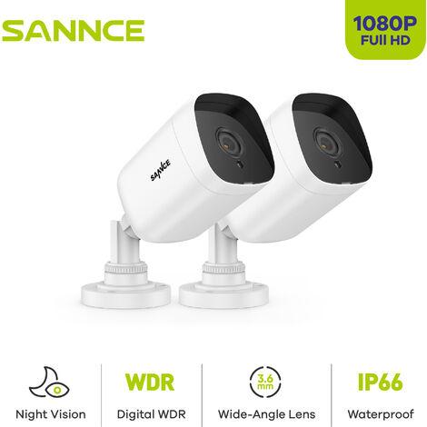 SANNCE TVI Caméra de surveillance extérieur 720p caméra bullet blanc filaire vision nocture 20m weatherproof IP66